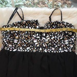 B Darlin Dresses - Black spaghetti long gown w/sliver stones sz  7/8